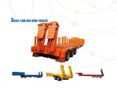 New Design Best Selling Low bed Semi Trailer, Construction Machinery Transport Trailer, Low Flatbed Truck Semi Trailer